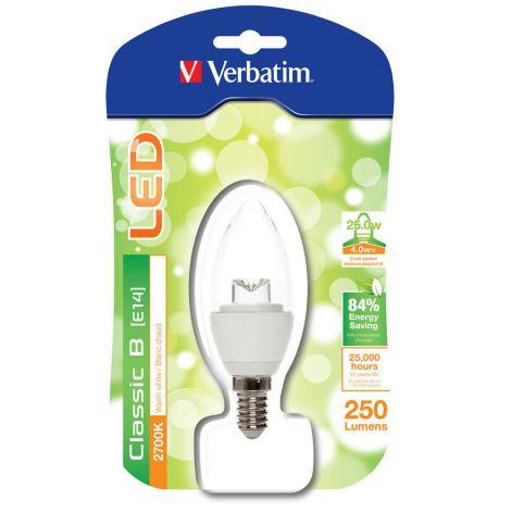 Lâmpada LED Verbatim Vela Transparente E14 4W (25W)