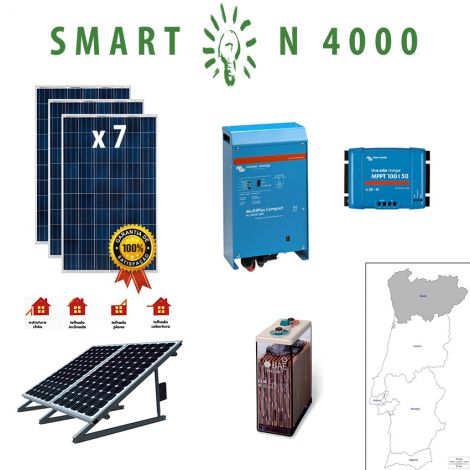 Kit Fotovoltaico SMART Híbrido Isolado N 4000Wh