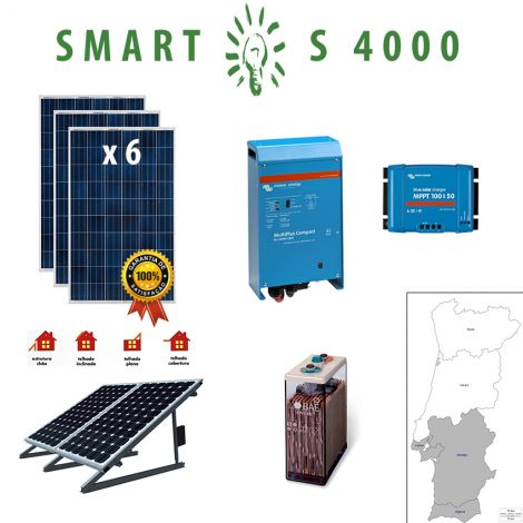 Kit Fotovoltaico SMART Híbrido Isolado S 4000Wh