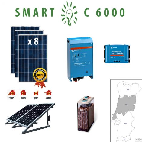 Kit Fotovoltaico SMART Híbrido Isolado C 6000Wh