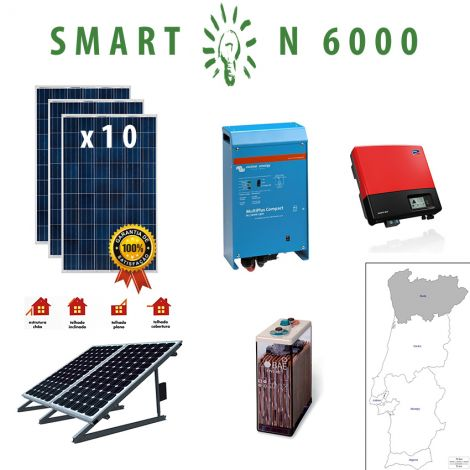 Kit Fotovoltaico SMART Híbrido Isolado N 6000Wh